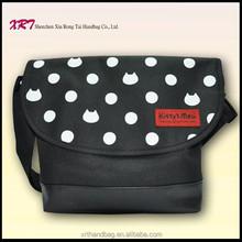 Polyester Long Strap Women Black Bags
