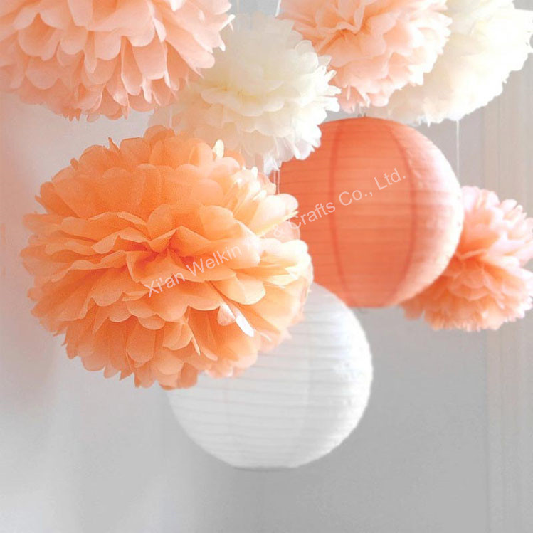 Paper ball flower tissue paper pom pom flower ball 16inch white cheap tissue paper pom poms artificial paper flowers for weddings mightylinksfo