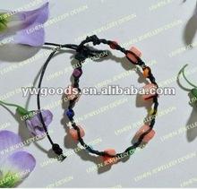 Cord Braided Stone Charm Bracelet