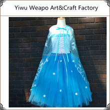 2015 Hot Sale ! Girls Beautiful Cosplay Frozen Elsa Dress With Organza Snow Flake Cape TWP-195