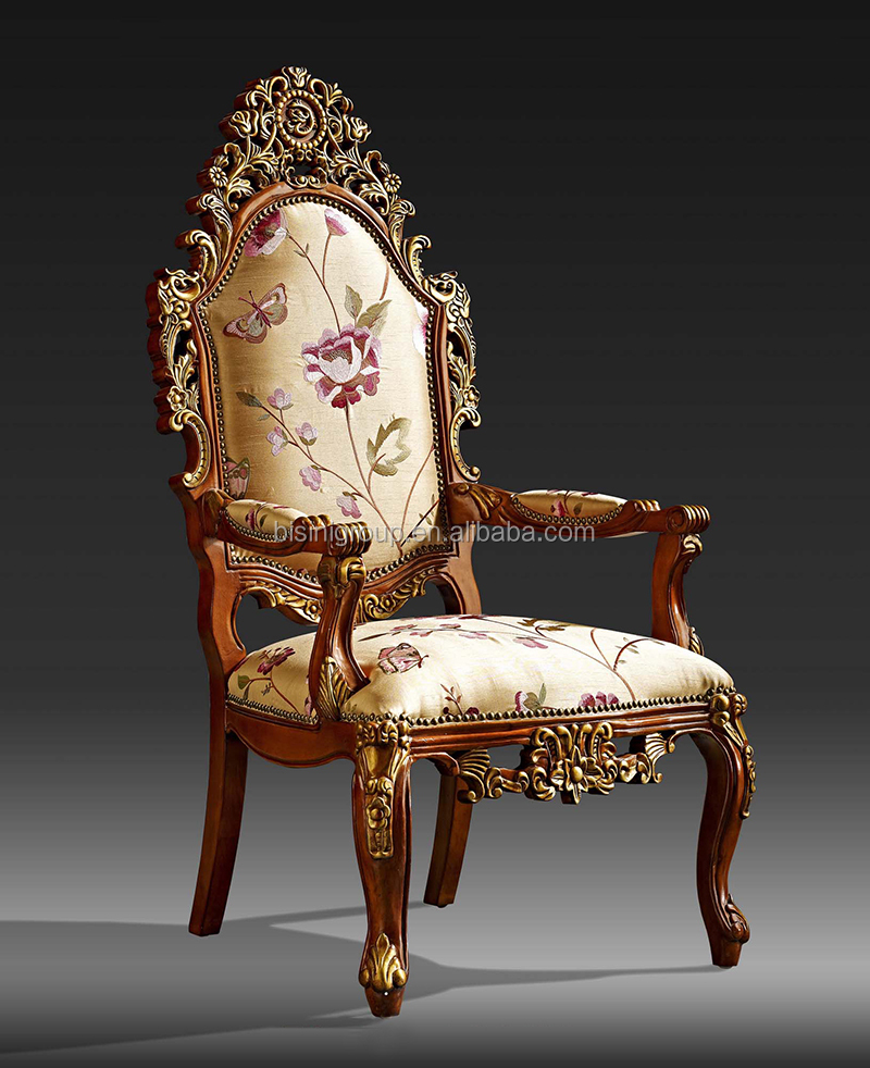 Classic Victorian Carved Wood Hall Chair Elegant English Style Upholstered Arm Chair For Hotel