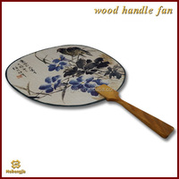 Wooden handle traditional Chinese painting round fan