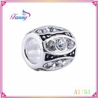 A1754 Big Hole Beads With Rhinestone Zinc Alloy Beads Jewelry For Bracelet