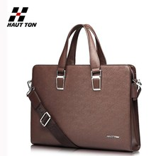 Fashion business men high quality real leather laptop briefcase bag