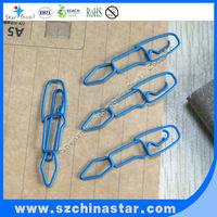 Different shapes paper clip of blue color pen shape