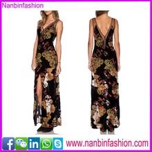 wholesale v neck see-through long evening dress