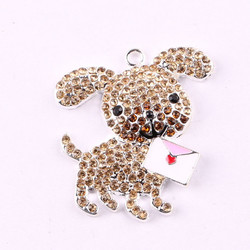 Fashionable Jewelry Alloy Rhinestone Cartoon Dog Pendant For Handmade DIY Jewelry Chunky Necklace Accessories