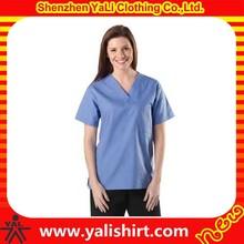 China professional custom made v neck short sleeves blank soft fit nurse uniform