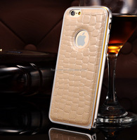 Cell phone accessory Crocodile Leather Back Case Metal Aluminum Bumper Case metal cover for iphone6 wholesale alibaba