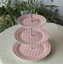 Newest creative design 3-layer ceramic candy/cookie/pie plates with metal stand