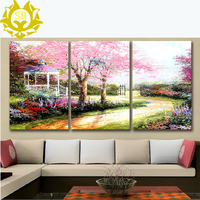 Polyptych simulation oil painting retro tree painting