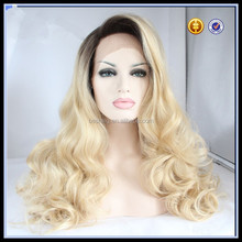 synthetic lavender ombre color fashion new curly lace front wigs cheap long blonde wigs