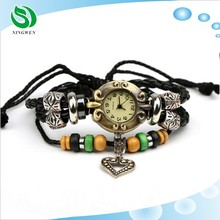 Wholesale Japanese and Korean fashion leather woven bracelet watch Heart