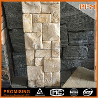Building facade stone design black slate wall corner protection