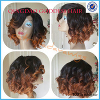 New Fashionable bob bang wig front lace glueless wig ombre T color 130% density unprocessed human hair bob cut wigs
