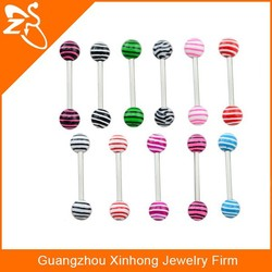 2015 New tongue piercing with colorful Resin ball TR01076