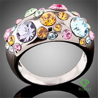 2015 Fashion New arrival multi-color austrian crystal 18k white gold GP o ring