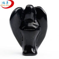 Hot sale High Quality Carving Angel Stone Black Obsidian