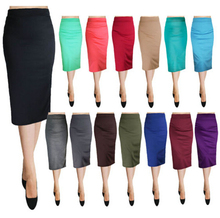 2015 Fashion OEM Sexy Bodycon Elegant Business Casual Solid Straight Pencil Skirt, below knee skirt