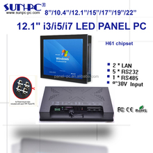 Aluminum PPC 12.1 inch intel core i3,i5,i7 industrial touch panel pc,all in one pc computer 6COM,1*RS485,6USB, DC12V