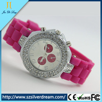 Most popular promotional silicone with diamond for women watch 2016