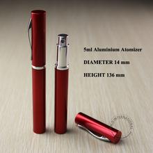 New and Hot 5ml red aluminium pen holder spray bottle liquid atomizer perfume pen
