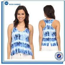 Loose fit scoop neck sleeveless tie dye stripe tank top