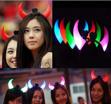 NEW LED glowing devil horns halloween devil horn novelty design led ox horn