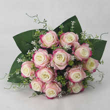 Artificial Flower wholesale 12 heads pink roses decoration for wedding bouquet