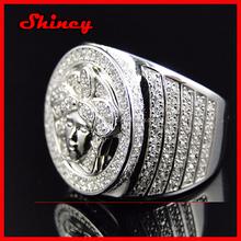 925 sterling silver 2.23carat rose gold plating 2014 fashion high quality factory OEM hip hop men's ring