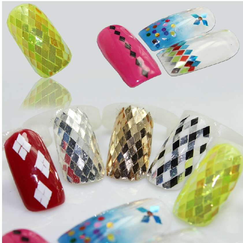 Дизайн ромбики на ногтях