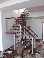 Modern fashion decorative glass sprial staircase/sprial stair/wood staircase