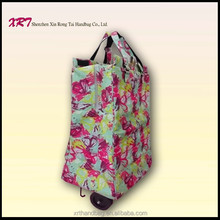 Polyester Folding Shopping Trolley Bag with Wheels