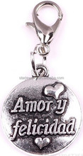 personalized love message engraved round disc charm pendant best Valentine's day jewelry accessories