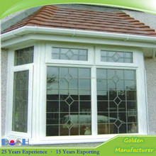 Fashion House Plan UPVC/PVC Corner Window with Grill Design for Balcony Window design