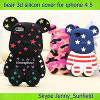 Mobile phone case Cute bear silicon 3d case for iphone 4 5, for iphone 4 case silicone, for iphone 4s case 3d