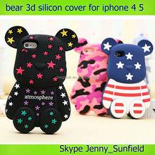 Mobile phone case Cute bear silicon 3d case for iphone 4 5, for iphone 4 case silicone, for iphone 4s case 3d