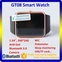 2015 Top Selling Wrist Watch GT08 Bluetooth Smart Watch for Android Smart Phone