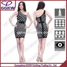precio favorable de las señoras vestido de material de los mayoristas en mumbai 2014 un hombro vestido de verano