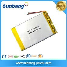 Recycle rechargeable Sunb805795 li polymer battery 3.7v 4500mah battery powered lcd monitor