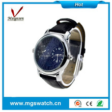 Alibaba express double time watches leather watch straps for man and women