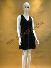 Original Design Fashion OEM Dress Women Black Deep V-neck Zipper Front Dress for Summer