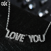 Alibaba Wholesale Love You Necklace Pendant Austrian Crystal Jewelry Wholesale