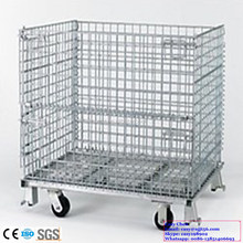 Foldable Metal Storage Cage Wire Mesh Box with Wheels