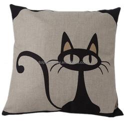 Cheap fashion decorative throw pillow cover custom cute cat design 3d digital linen handmade embroidery cushion cover