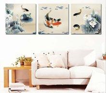 wall art Swimming fish decoration abstract Animal paintings on canvas 4pcs/set