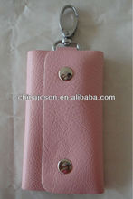 wholesale promotional genuine leather car key bag holder with metal hook many colors available