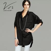 Vanillachocolate 2015 Autumn&Winter Unique Design Fahion Blouses Elastic Waist Pure Color Turn-down Collar Shirts With Pockets