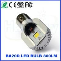 Promotion 12V 800LM Motor LED COB headlamp motorcycle BA20D 2700k 6000K Yellow White headlamp High/Low Beam headlamp