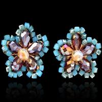 hot selling new fashion handmade crystal flower diamond stud earrings